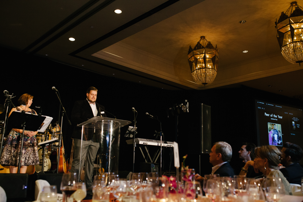 Jackman speaking at the Connections of Hope event.